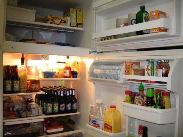 Unhealthy food in refrigerator