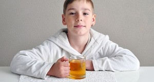 kid with green tea