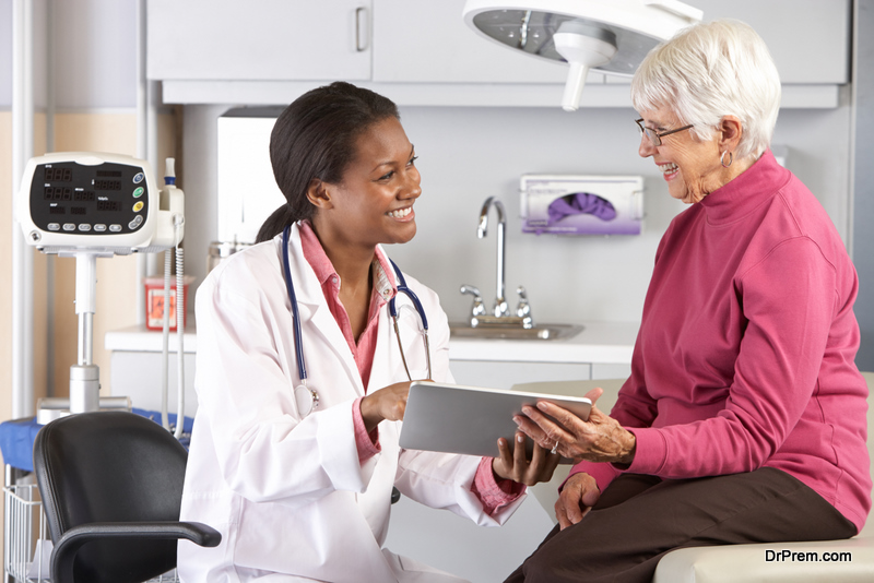 senior woman communicating with doctor