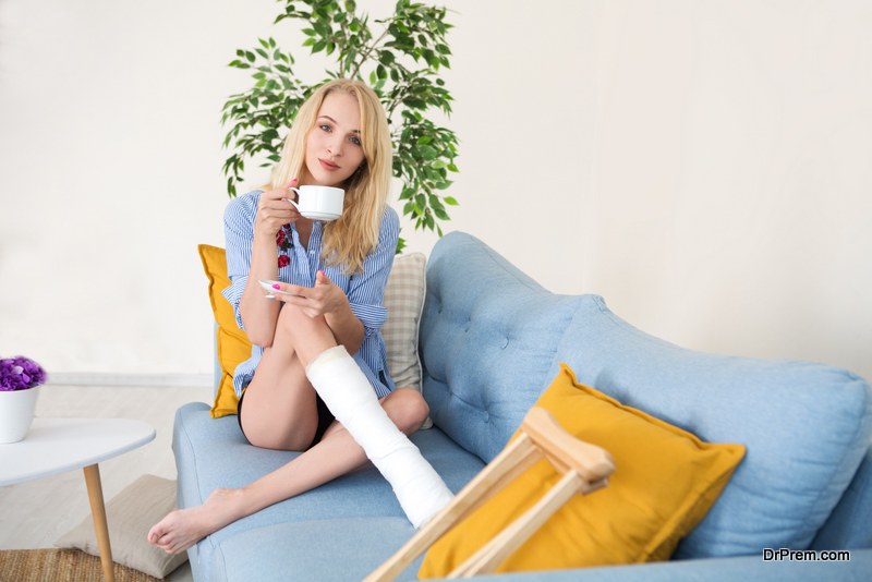 young woman relaxing at home after an accident
