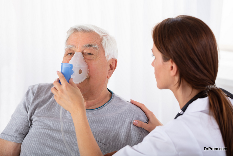 Senior Male suffering from chronic obstructive pulmonary disease