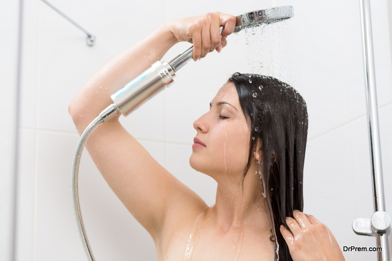 young woman taking shower